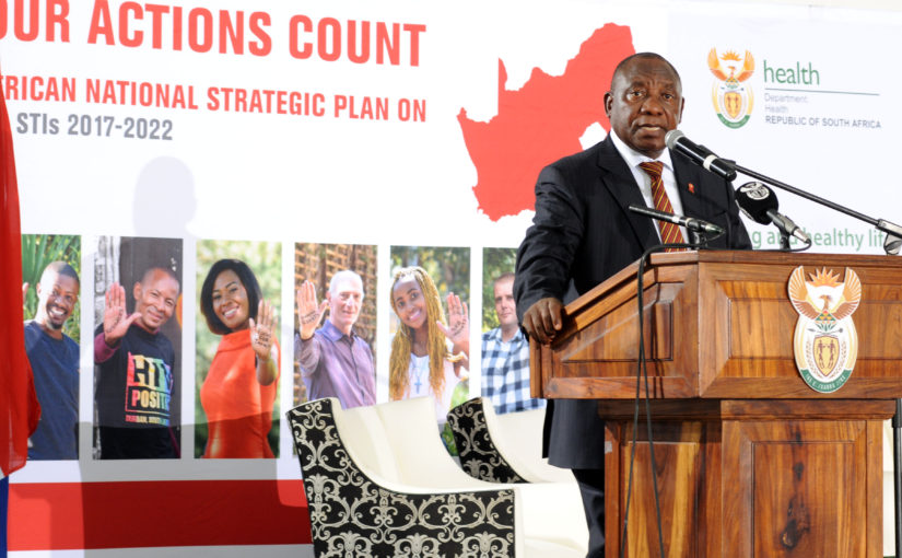 SANAC Chairperson, Deputy President Cyril Ramaphosa during the launch of the National Strategic Plan on HIV, TB and STIs: 2017-2022 at Clive Solomon Stadium in Bloemfontein.